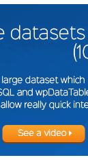 wpDataTables funzione di elaborazione lato server consentirà l'interazione molto veloce con questo set di dati - Video