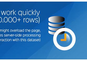 wpDataTables funzione di elaborazione lato server consentirà l'interazione molto veloce con questo set di dati