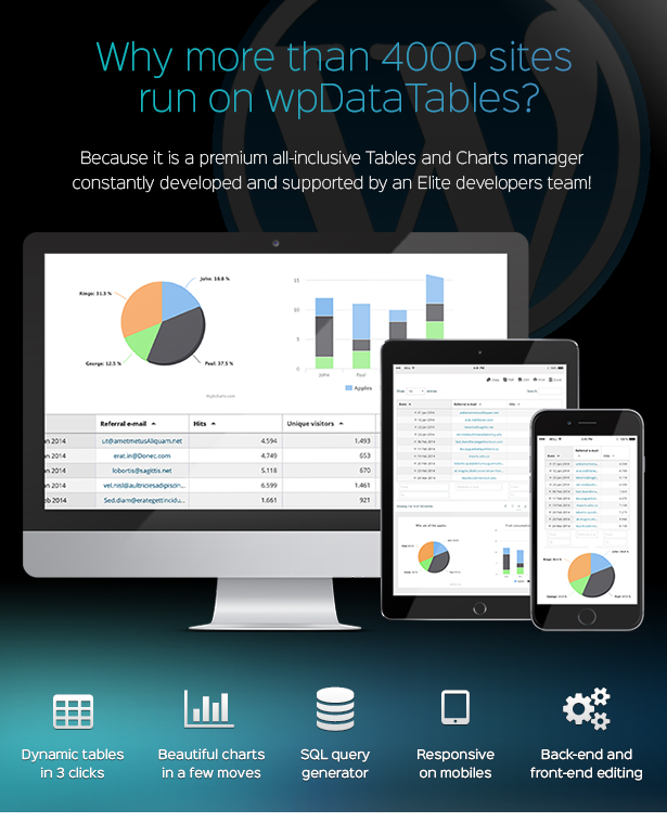 wpDataTables - Tabelle e grafici Manager per WordPress
