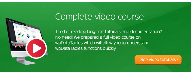 Video Course sa wpDataTables Tables at Chart WordPress Plugin
