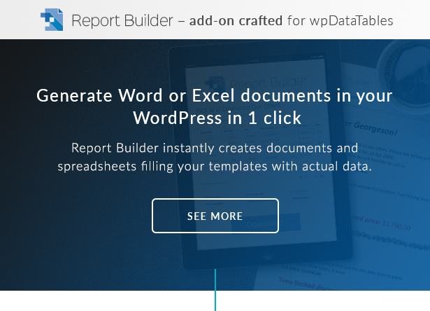 Report Builder is a Word DOCX and Excel XLSX generator for WordPress