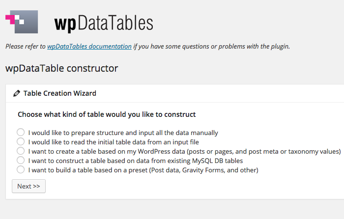 wpDataTables Table Constructor main page