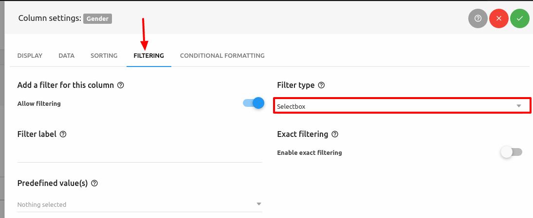 Column settings JSON