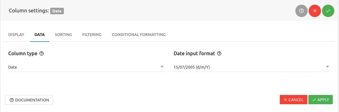 Date column