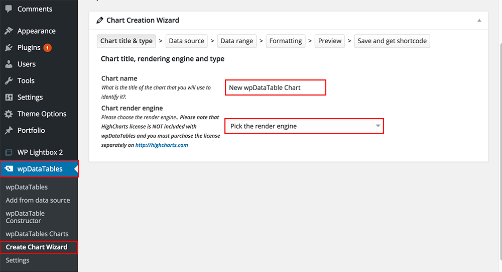 Creating charts in WordPress with wpDataTables