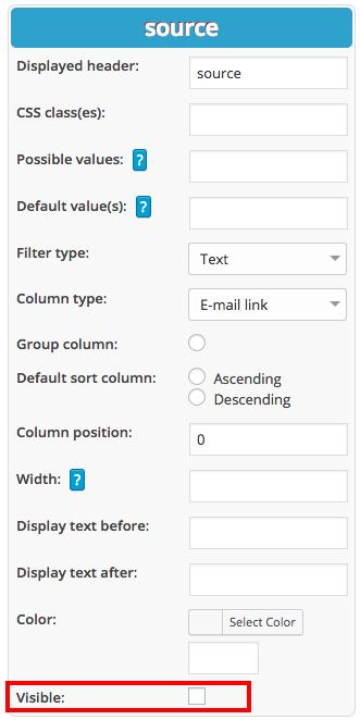 Hiding columns in WordPress tables