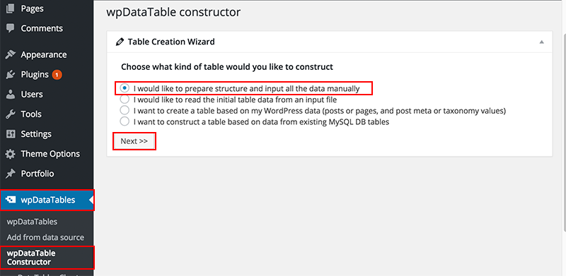 Creating WordPress tables with a wizard