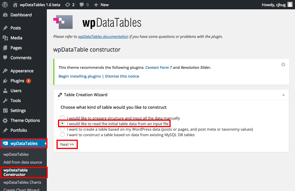 Importing CSV tables to WordPress