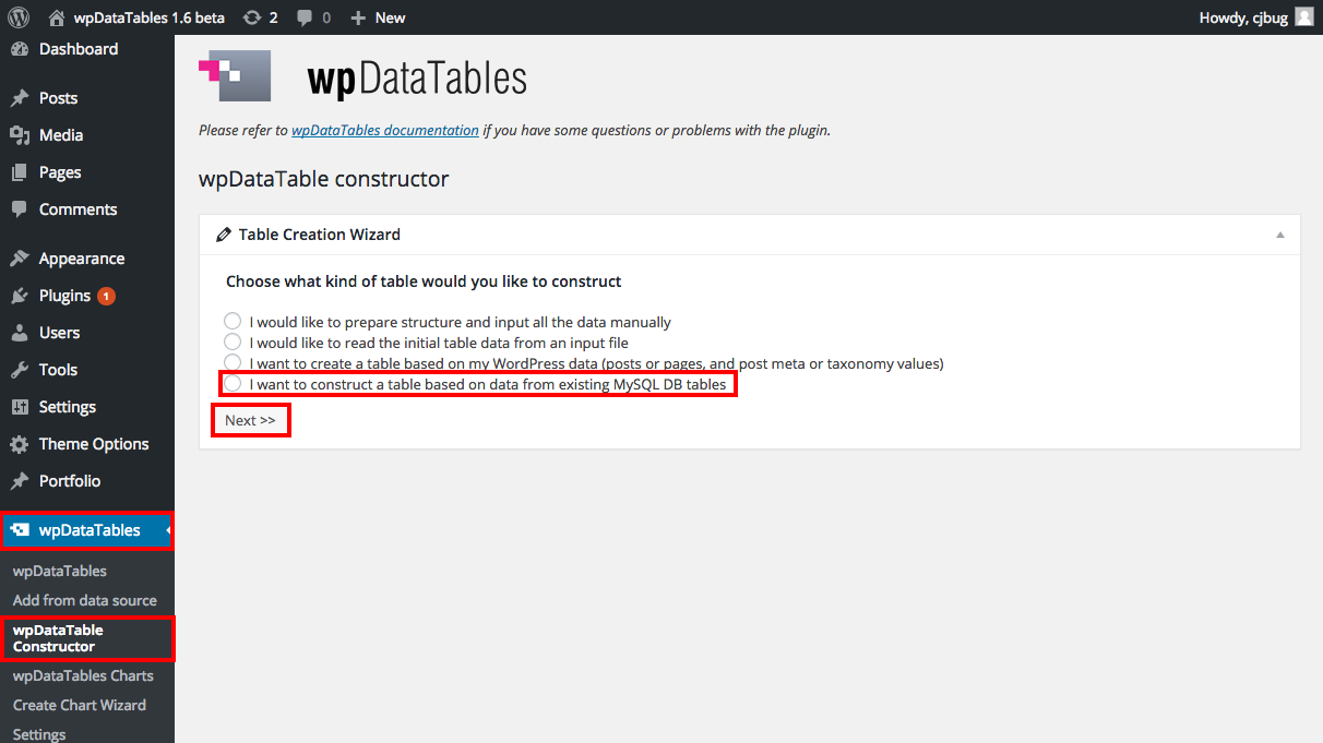 Generating MySQL queries automatically in wpDataTables