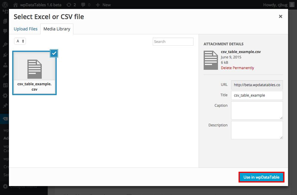 CSV table in WordPress