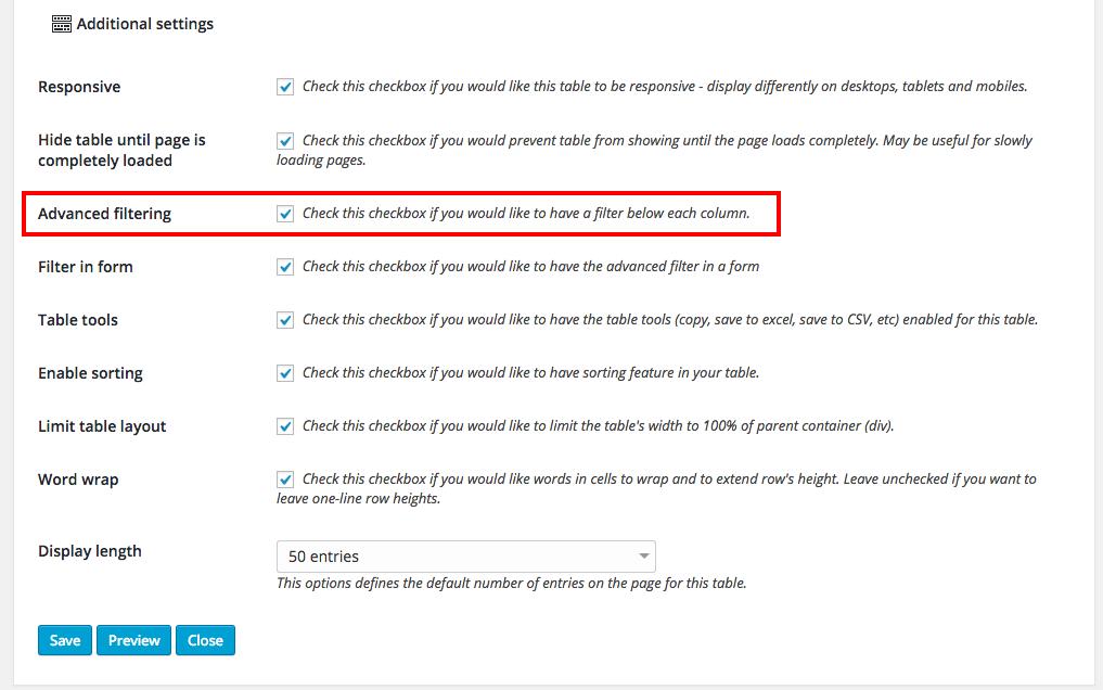 Filtering responsive tables in WordPress