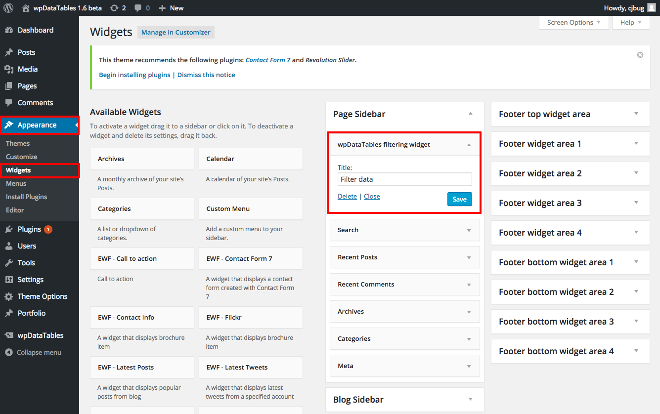 Table filter in a widget for WordPress