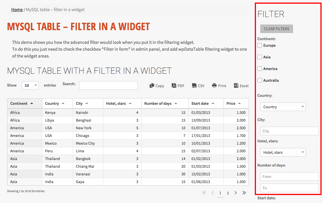 Filtering the tables from a WordPress widget