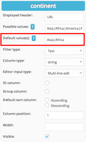 Predefined filter values for tables in WordPress