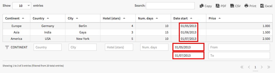 Date range filtering for tables in WordPress