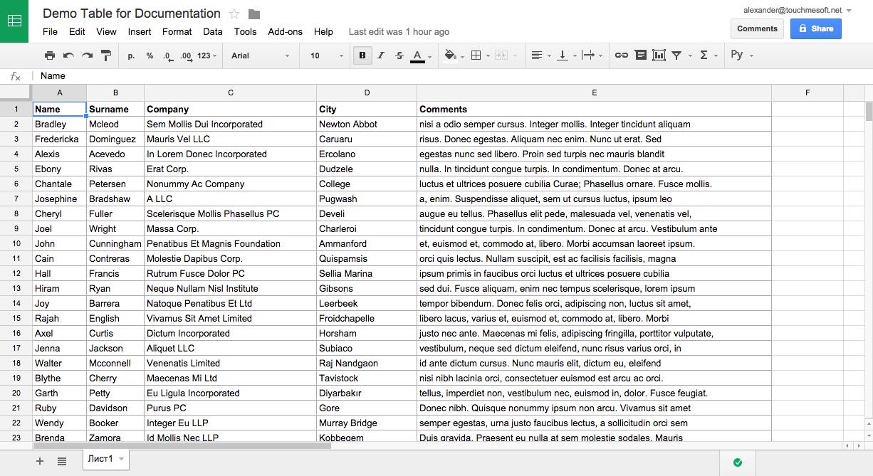 Google Spreadsheets - editing mode
