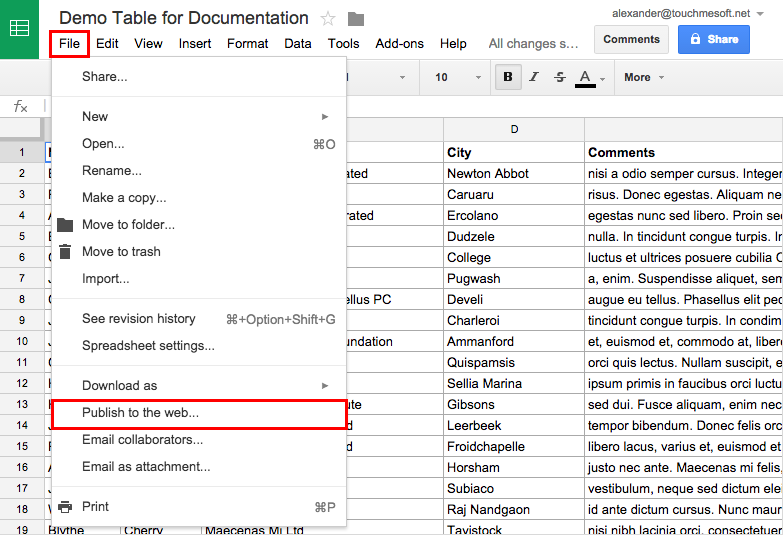 Google Spreadsheets in wpDataTables