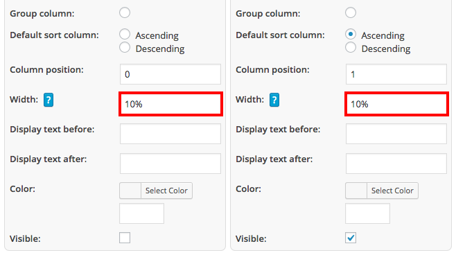 Define column widths in WordPress tables