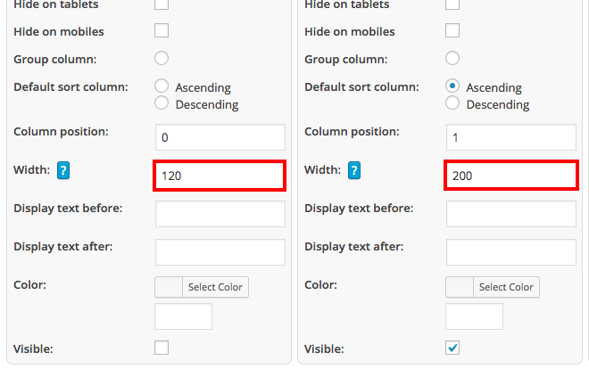 Defining column widths in WordPress tables