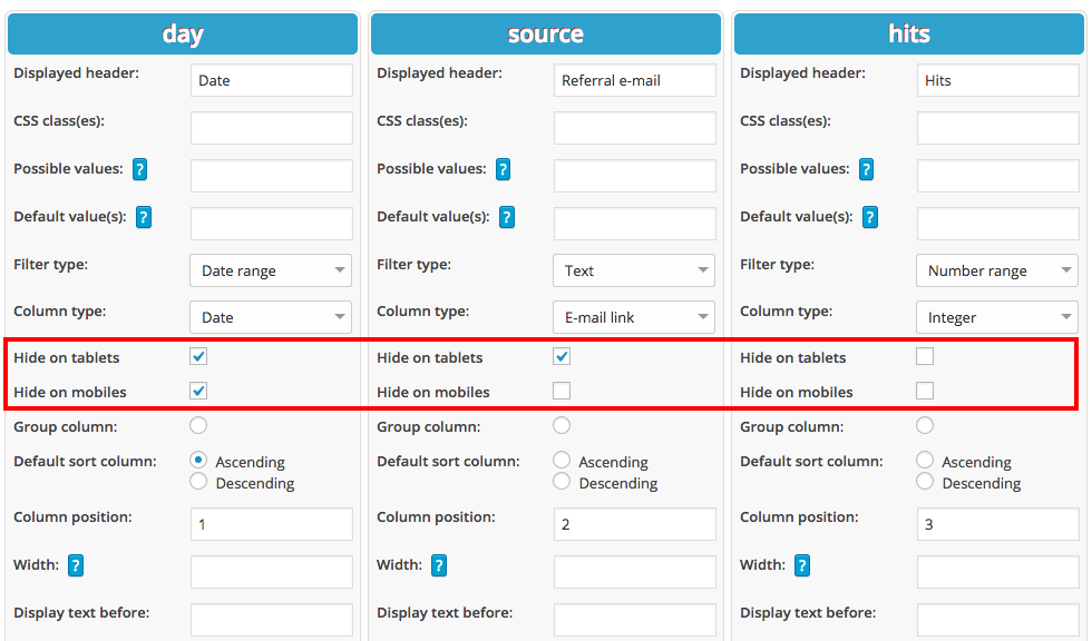 Responsive tables in WordPress plugin