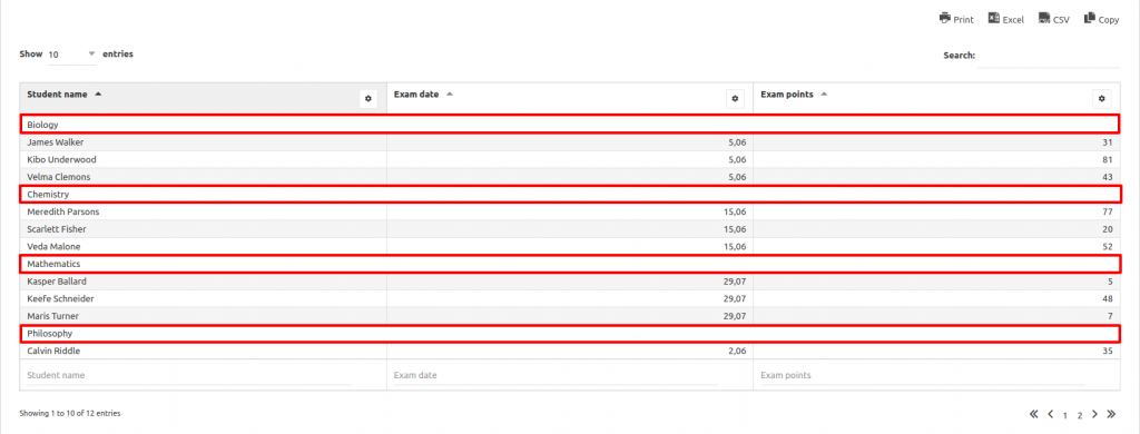 Row grouping - wpDataTables - Tables and Charts WordPress Plugin