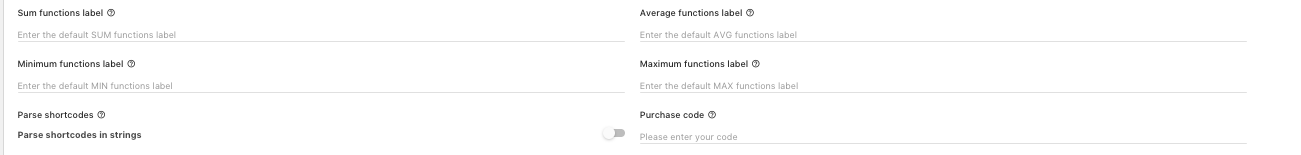 settings main tab functions purchase code