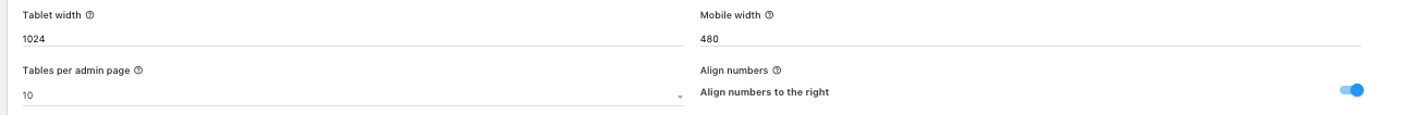 settings main tab tablet width mobile width align number