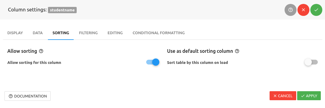 wpDataTables sorting individual columns