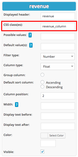 Styling columns in tables in WordPress