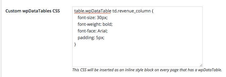 Styling columns in WordPress Tables
