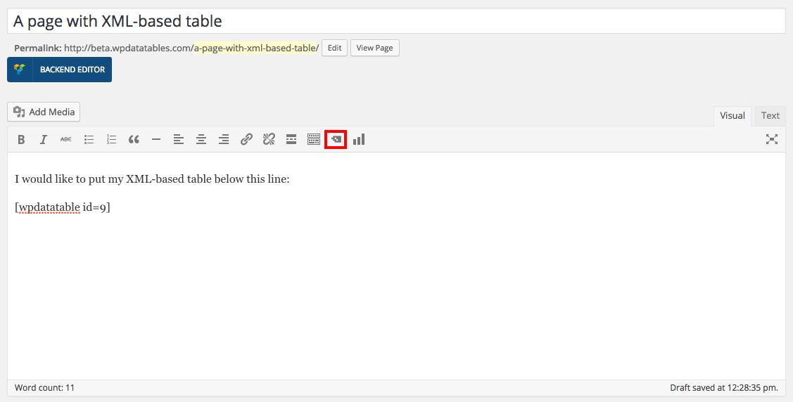 XML-based wpDataTables in WordPress