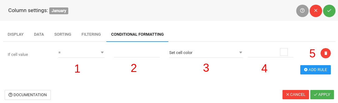 wpDataTables conditional formatting