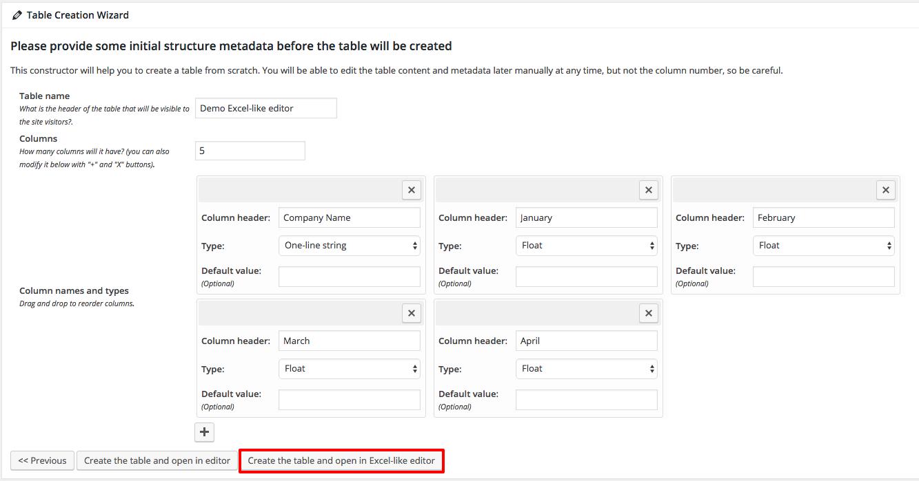 Creating Excel-like editor in WordPress