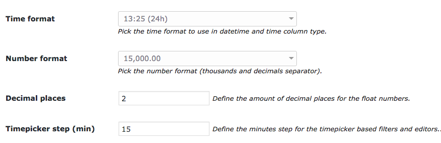 DateTime and Time settings in wpDataTables