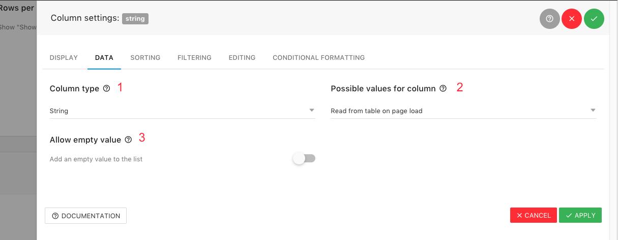 Column Settings - Data