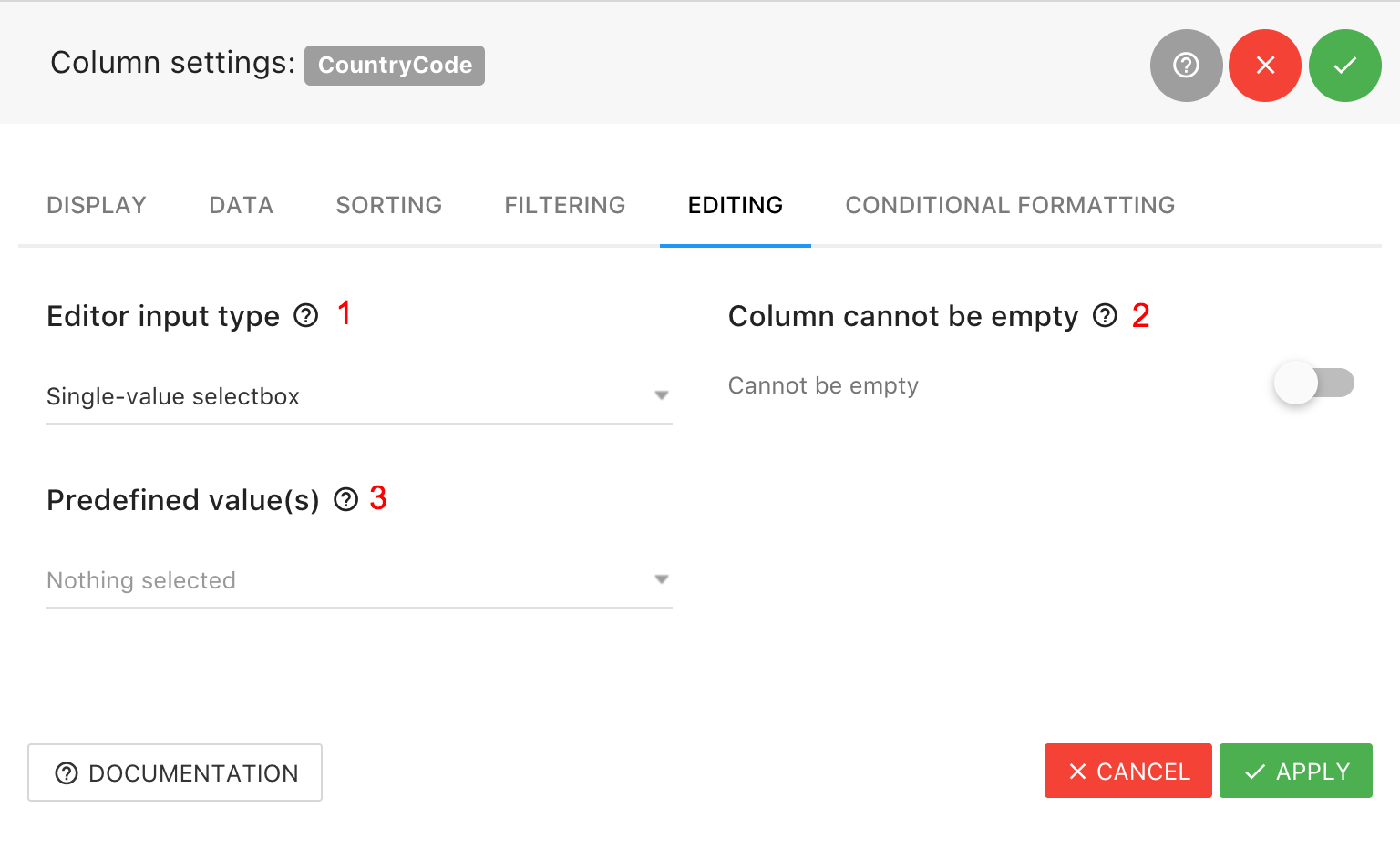 Column Settings - Editing