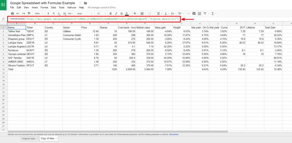 Creating Tables in WordPress from Google Spreadsheets with formulas