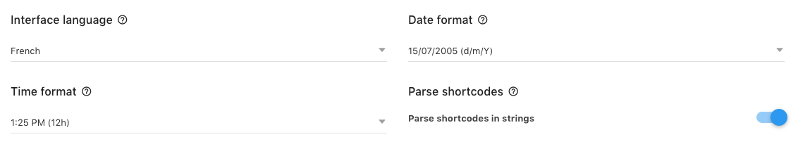 Main Setting language, date and time - wpDataTables