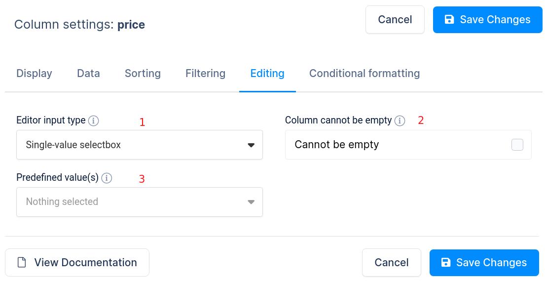 Column editing settings