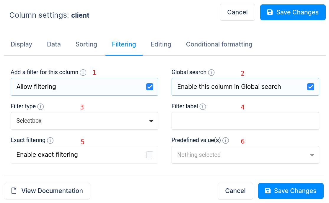 Column filtering options