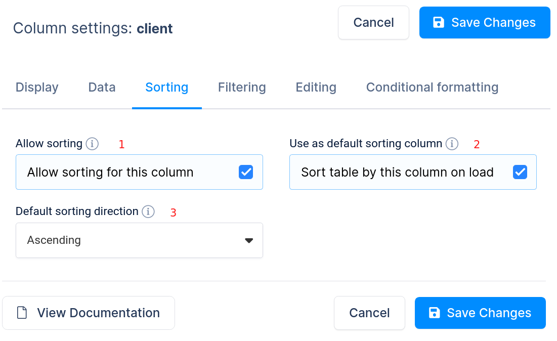 Column sorting settings