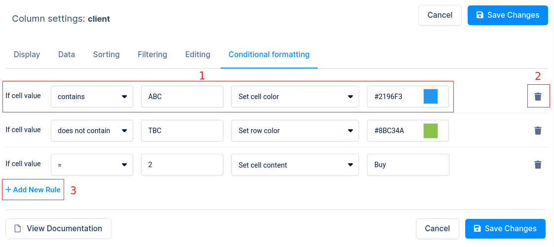 Conditional formatting in WordPress table