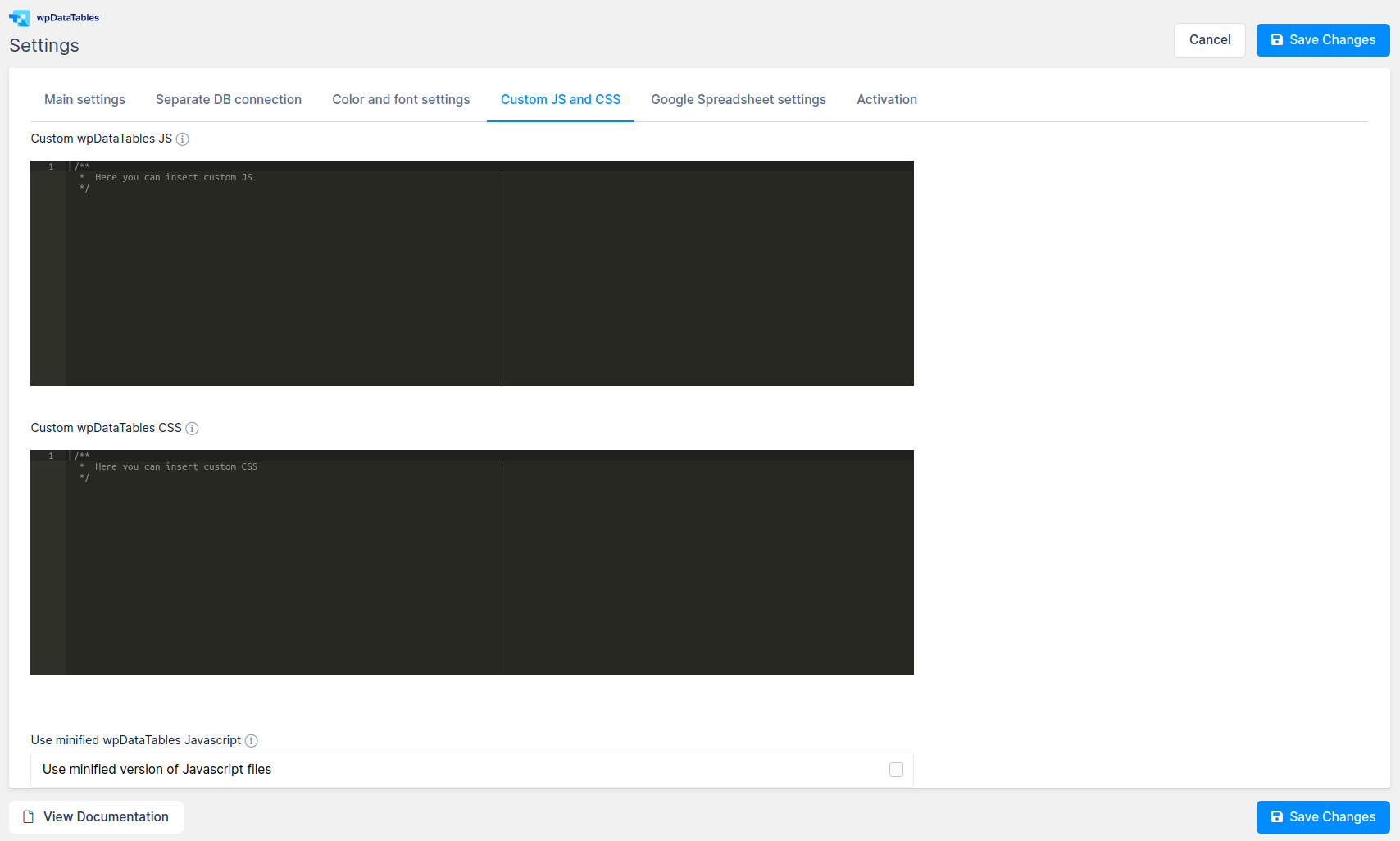 Custom JS and CSS fields