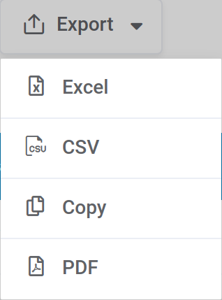 Export buttons in WordPress table