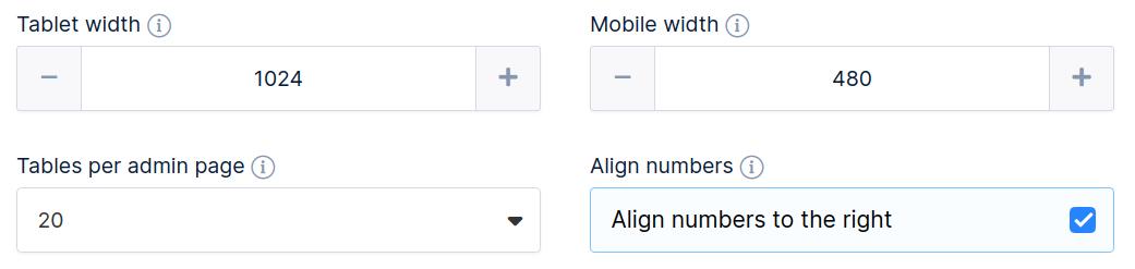 Main settings options three