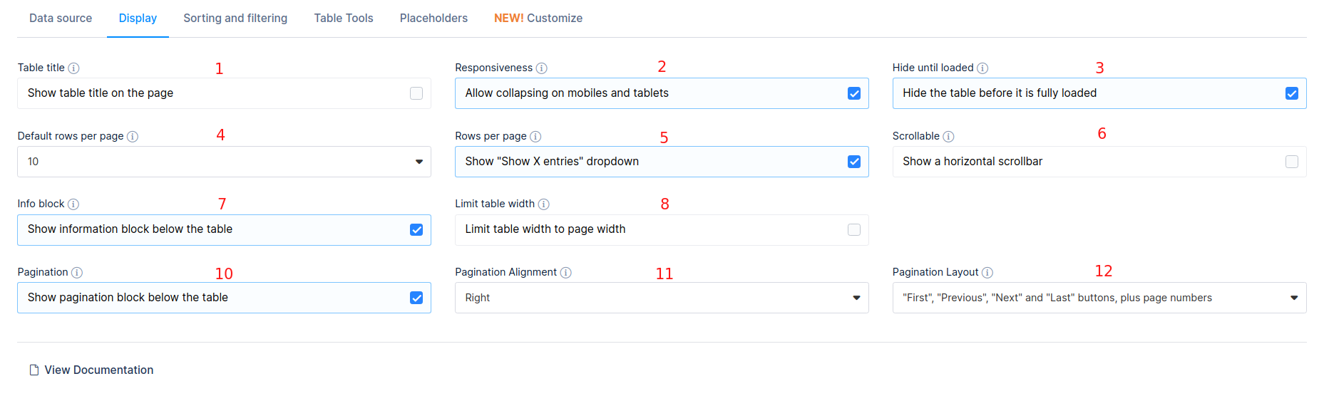 Table display settings
