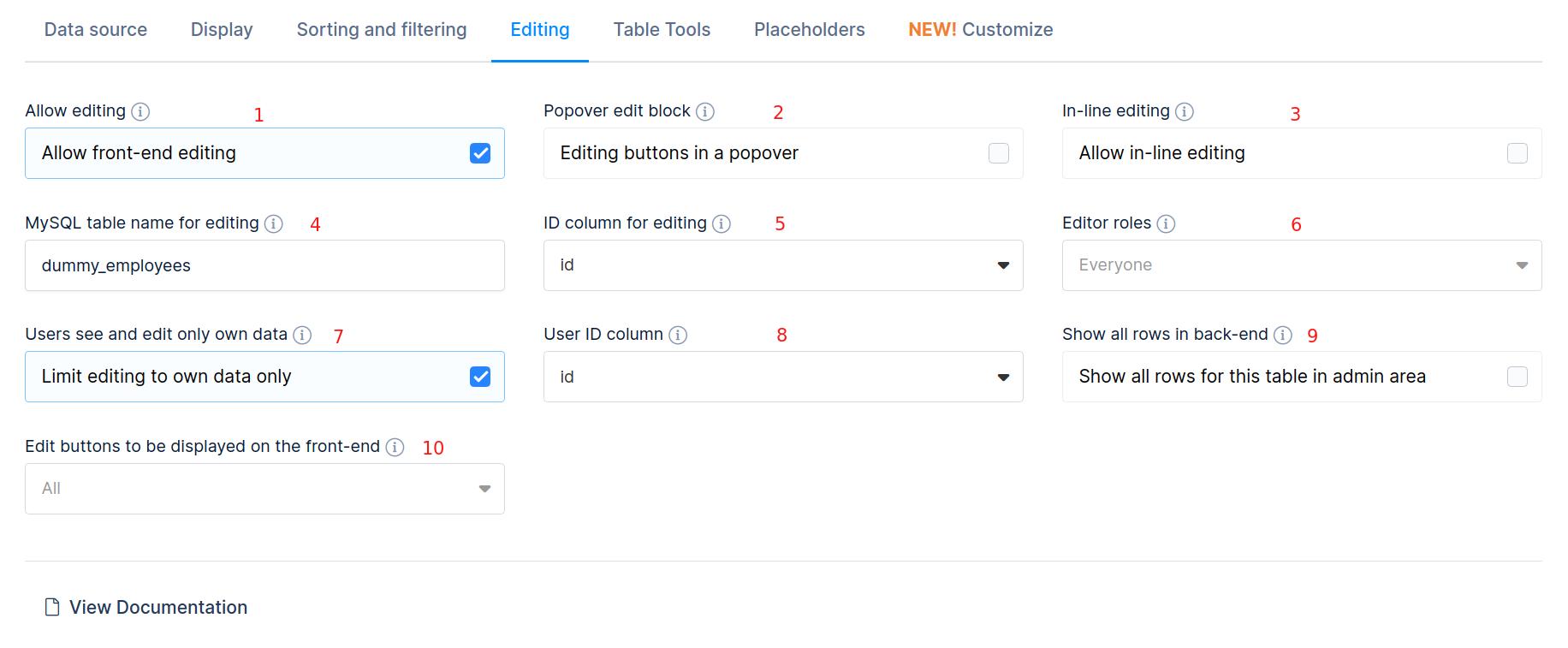 Table editing settings