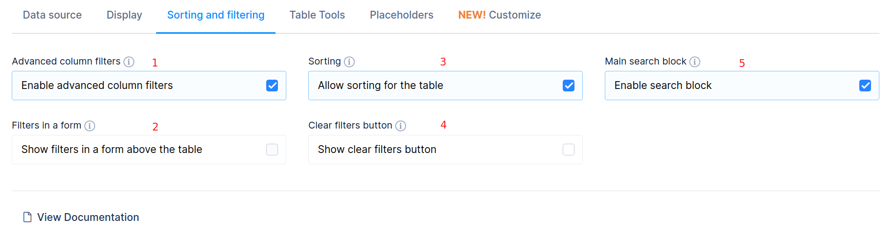 Table sorting and filtering settings