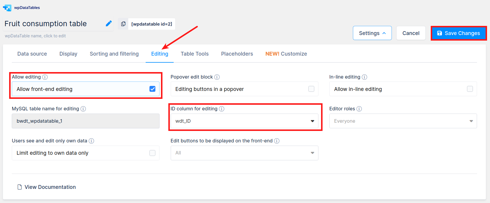 Editing tab in table settings