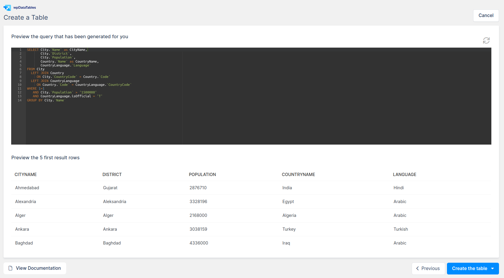 Query preview